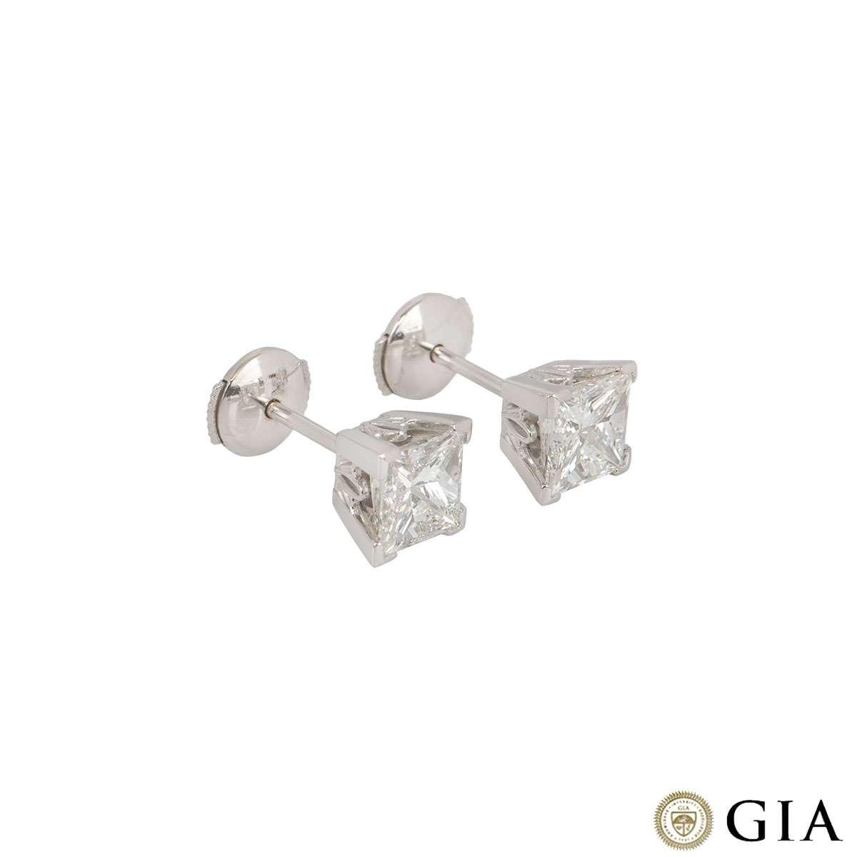 Princess Cut White Gold Diamond Earrings